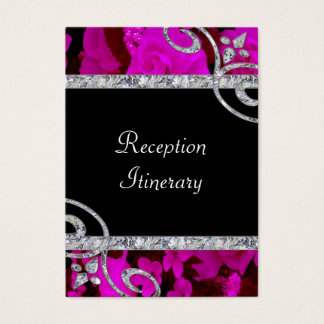 Pretty Pink Roses & Diamond Swirls Wedding Business Card