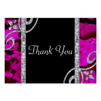 Pretty Pink Roses & Diamond Swirls Wedding Card