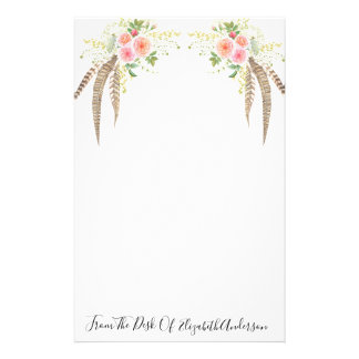 Pretty Pink Roses & Feather Personalized Stationery