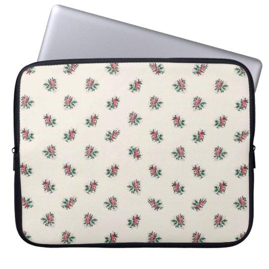 Pretty Pink Roses Girly Vintage Wallpaper Pattern Laptop Sleeve