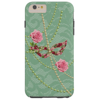 Pretty Pink Roses Masquerade & Pearls Soft Green Tough iPhone 6 Plus Case