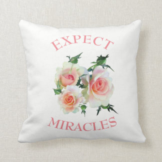Pretty Pink Roses Motivational Country Chic Throw Pillow