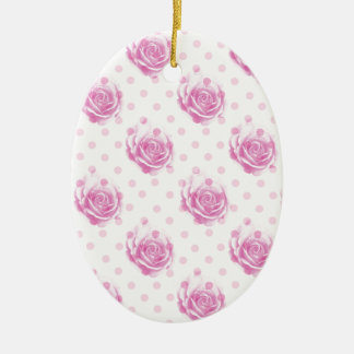 Pretty pink roses pattern ceramic oval ornament