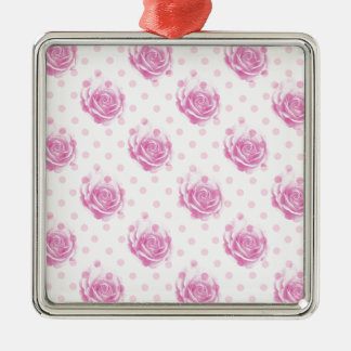 Pretty pink roses pattern Silver-Colored square ornament