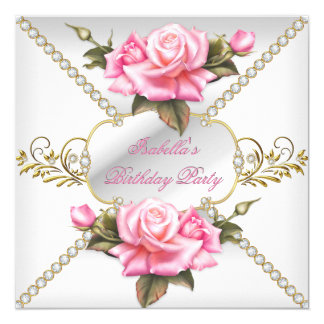 "Pretty Pink Roses White Gold Birthday Party 5.25"" Square Invitation Card"