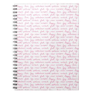 Pretty Pink Script Romance Journal for Journaling Spiral Note Book