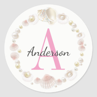 Pretty Pink Sea Shells Monogrammed & Personalized Classic Round Sticker