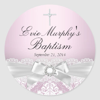 Pretty Pink Silver Damask & Bow Baptism Sticker