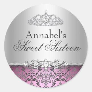 Pretty Pink Silver Damask Sweet 16 Sticker