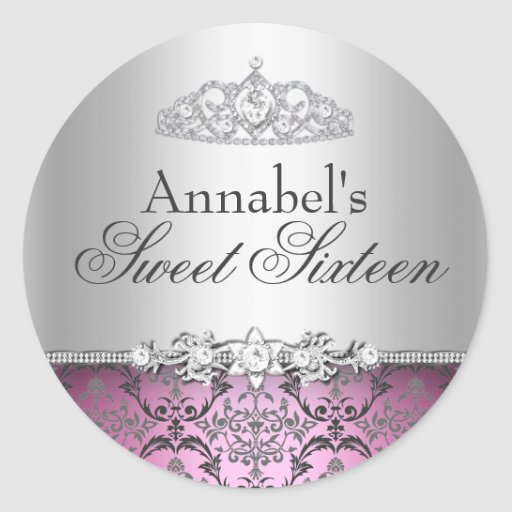 Pretty Pink & Silver Damask Sweet 16 Sticker
