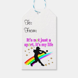 PRETTY PINK SOFTBALL IS MY LIFE DESIGN PACK OF GIFT TAGS