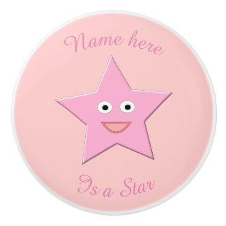 Pretty Pink Star Custom Ceramic Knob