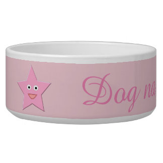 Pretty Pink Star Dog Bowl