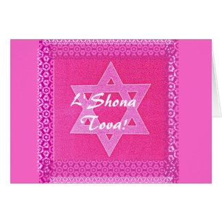 Pretty Pink Star of David Card