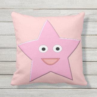 Pretty Pink Star Outdoor Pillow