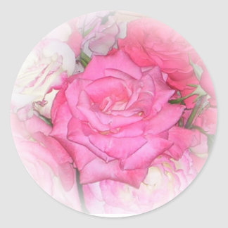 Pretty pink sticker with rose
