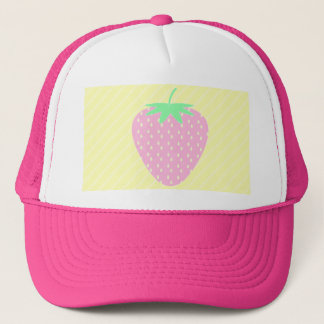 Pretty Pink Strawberry on Yellow Stripes. Trucker Hat