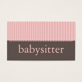 Pretty Pink Stripes Babysitting Business Card