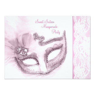 """Pretty Pink Sweet Sixteen Masquerade Party 5.5"""" X 7.5"""" Invitation Card"""