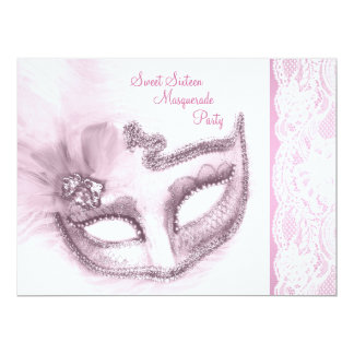 """Pretty Pink Sweet Sixteen Masquerade Party 6.5"""" X 8.75"""" Invitation Card"""