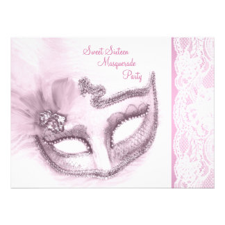 Pretty Pink Sweet Sixteen Masquerade Party Personalized Invitation