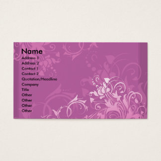 pretty pink swirl floral design business card
