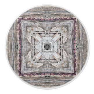 Pretty Pink Tinged Aztec Inspired Pattern Ceramic Knob