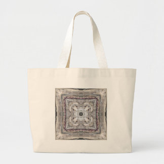 Pretty Pink Tinged Aztec Inspired Pattern Large Tote Bag
