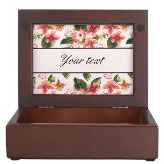 Pretty Pink Tropical Flower Pattern Keepsake Box