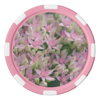 Pretty Pink Tropical Flowers Poker Chip Set