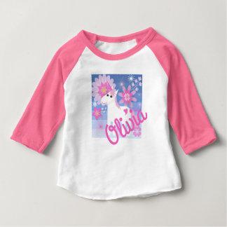 Pretty Pink Unicorn Custom 3/4-Sleeved Baby Top