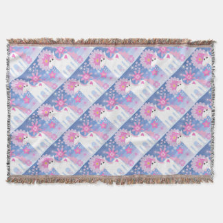 Pretty Pink Unicorn Throw Blanket