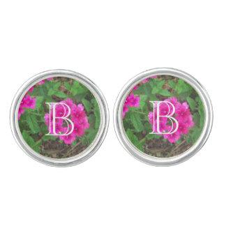 Pretty pink verbena flowers floral photo cuff links