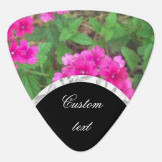 Pretty pink verbena flowers floral photo guitar pick