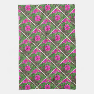 Pretty pink verbena flowers floral photo kitchen towel
