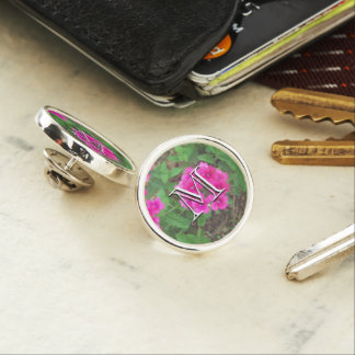 Pretty pink verbena flowers floral photo lapel pin