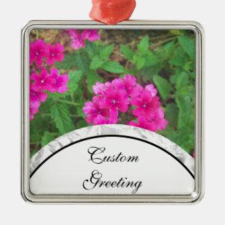 Pretty pink verbena flowers floral photo metal ornament