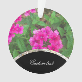 Pretty pink verbena flowers floral photo ornament