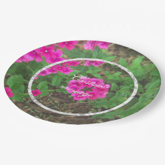 Pretty pink verbena flowers floral photo paper plate