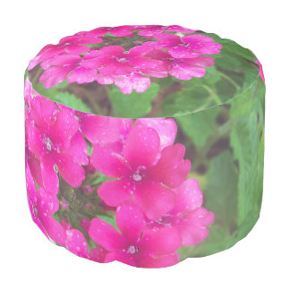 Pretty pink verbena flowers floral photo pouf