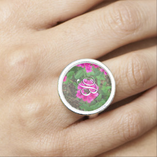 Pretty pink verbena flowers floral photo ring
