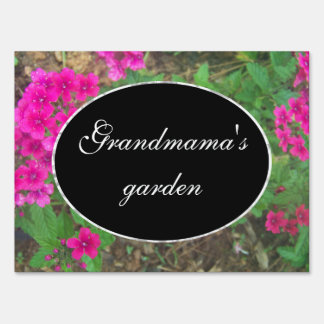 Pretty pink verbena flowers floral photo sign