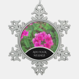 Pretty pink verbena flowers floral photo snowflake pewter christmas ornament