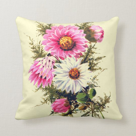 Pretty Pink Vintage Aster Flowers Throw Pillow