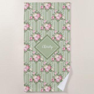 Pretty pink vintage floral bouquet patterned beach towel