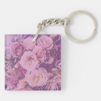 Pretty Pink Vintage Roses Double-Sided Square Acrylic Keychain