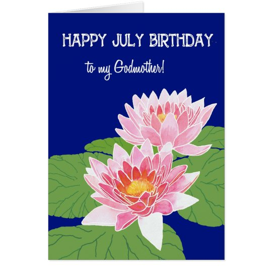Pretty Pink Water Lilies July Birthday Godmother Card