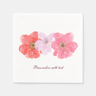 Pretty Pink Watercolor Floral Disposable Napkins