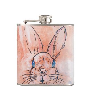 Pretty  pink watercolor rabbit hand paint hip flask