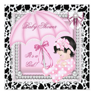 """Pretty Pink White Cute Girl Baby Shower Cow 5.25"""" Square Invitation Card"""